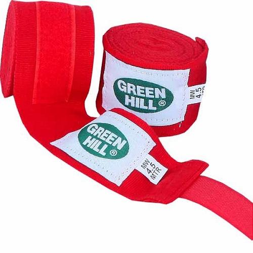 Эластичные  боксёрские бинты GREEN HILL 4,5 m red