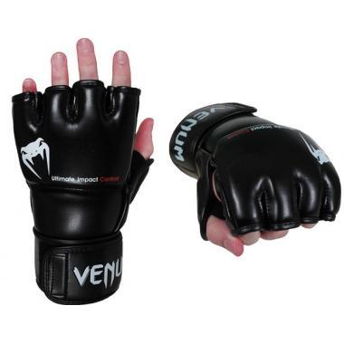 ПЕРЧАТКИ VENUM IMPACT MMA GLOVES - SKINTEX LEATHER - BLACK