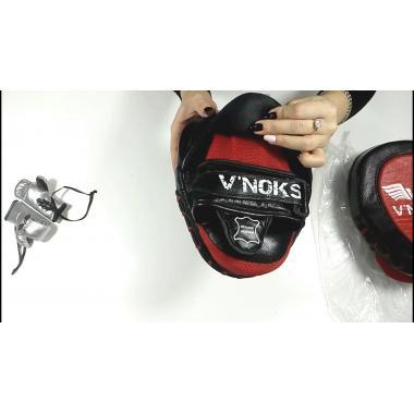Лапы боксерские V`noks Fuoko Red натуральная кожа